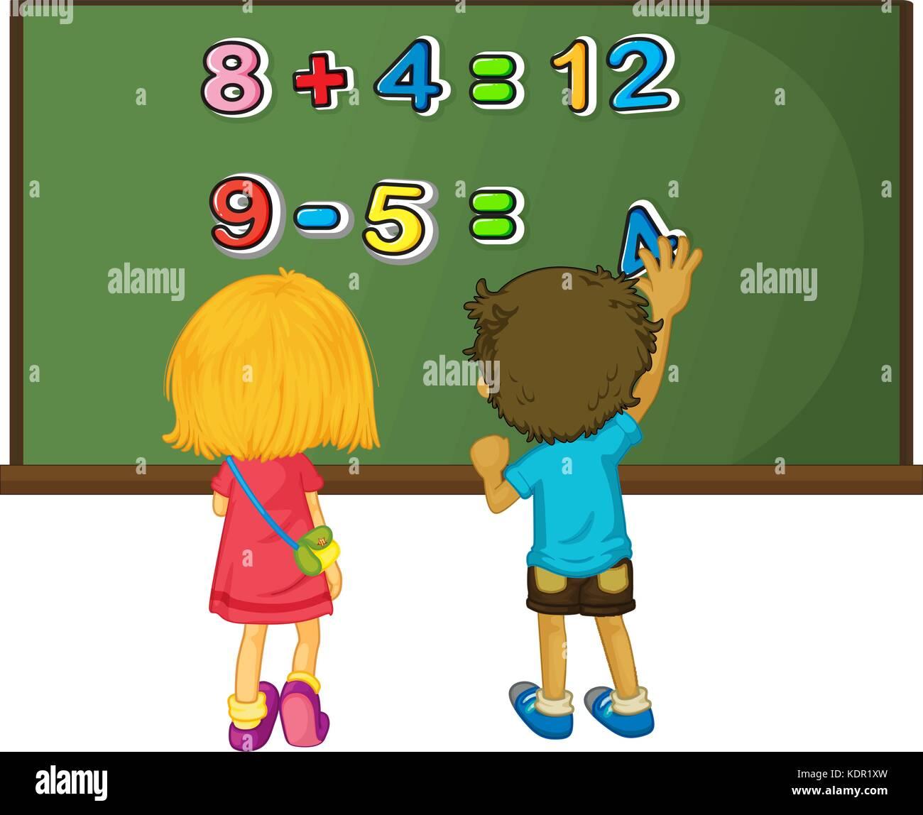 Two kids solving math problem on board illustration Stock Vector Art ...