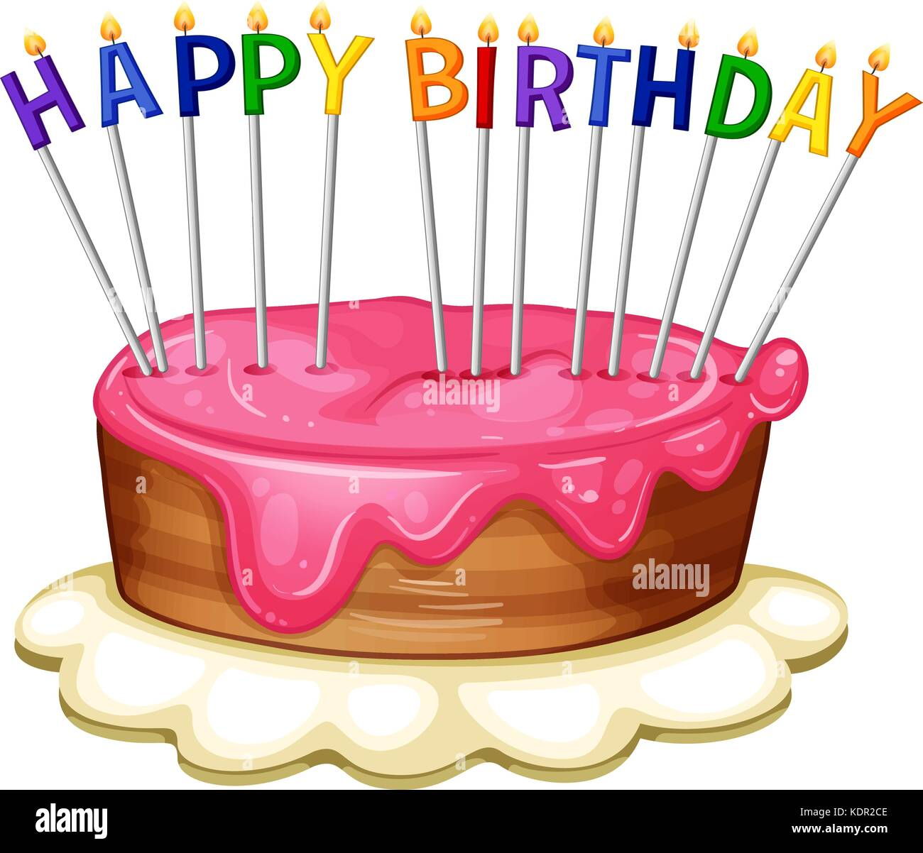 Happy Birthday Card Template With Pink Cake Illustration