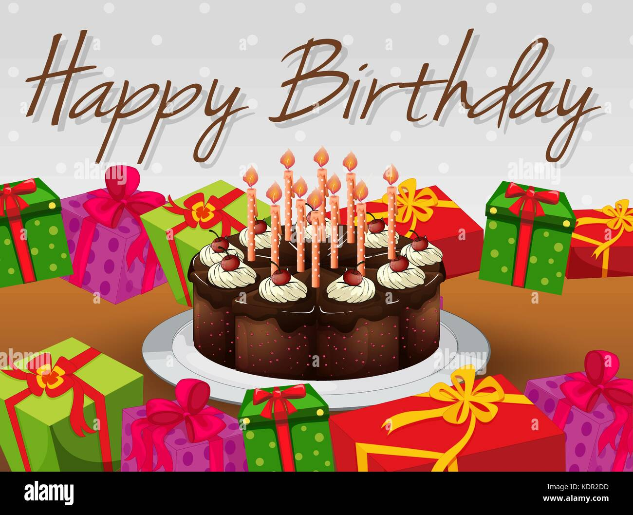 Astonishing Happy Birthday Card Template With Cake And Presents Illustration Funny Birthday Cards Online Sheoxdamsfinfo