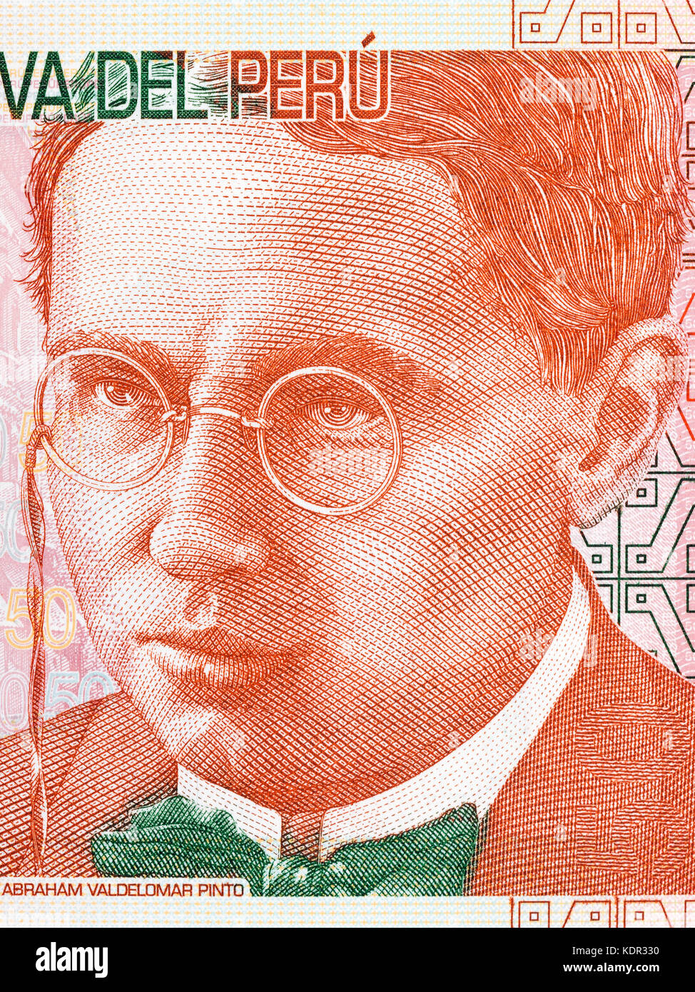 Abraham Valdelomar portrait from Peruvian money - Stock Image