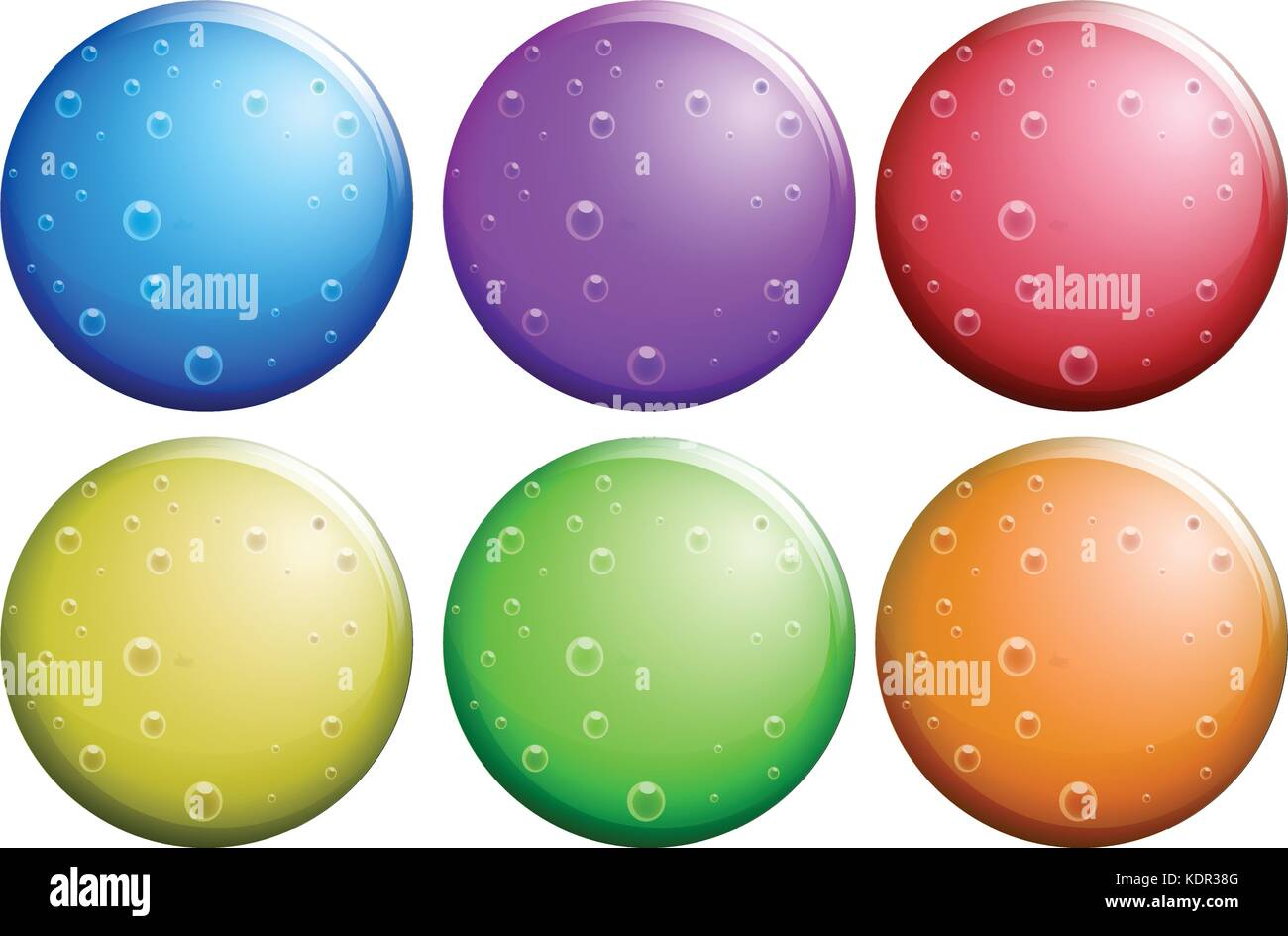 Round bubbles in six colors illustration - Stock Image
