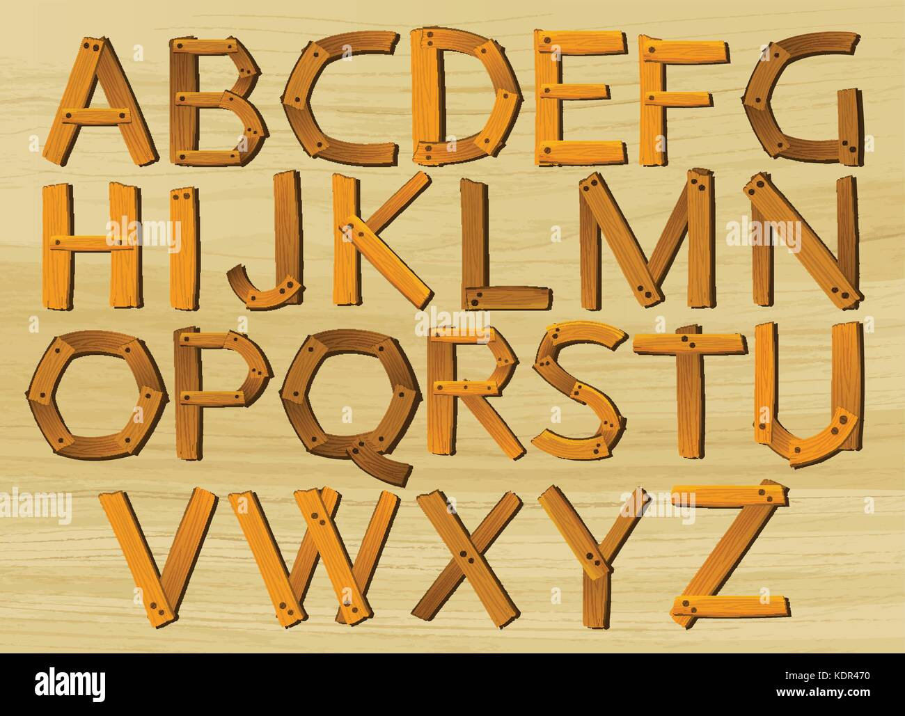 Alphabet characters from A to Z in wooden pattern illustration - Stock Vector