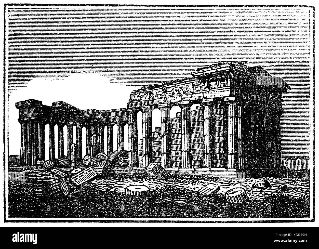 The Parthenon from 1825 woodcut - Stock Image