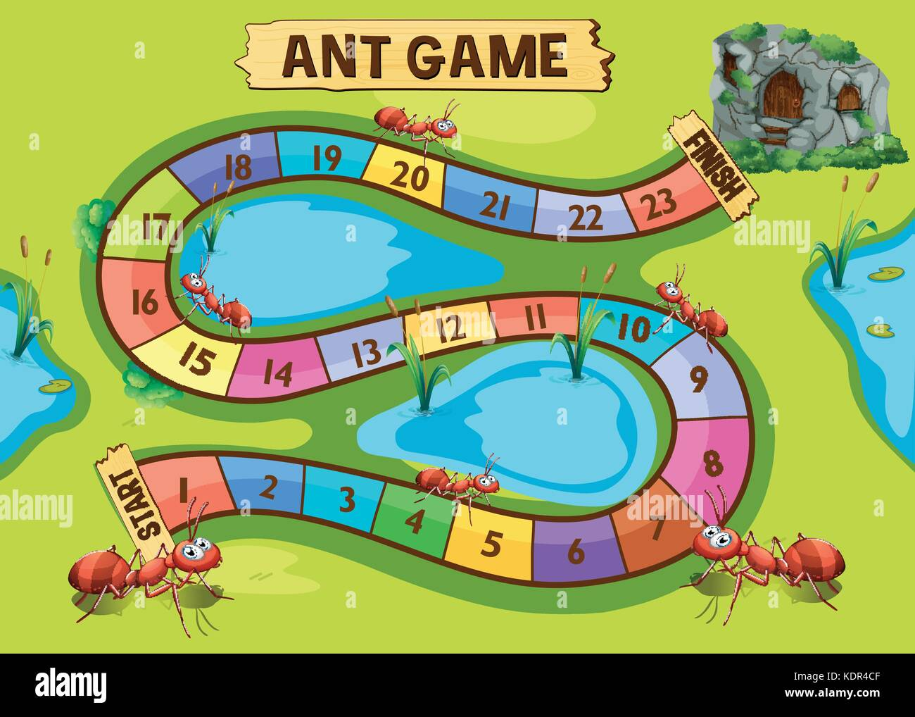 Game template with ant colony in background illustration - Stock Vector