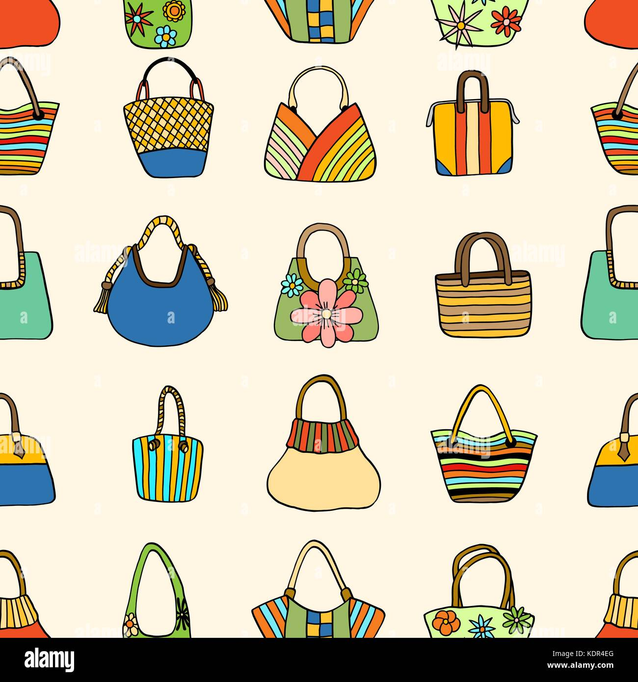 fff4ec8ad6 Vector seamless pattern with hand drawn colored Lady handbag. Pattern on  the theme of summer fashion. Background for use in design