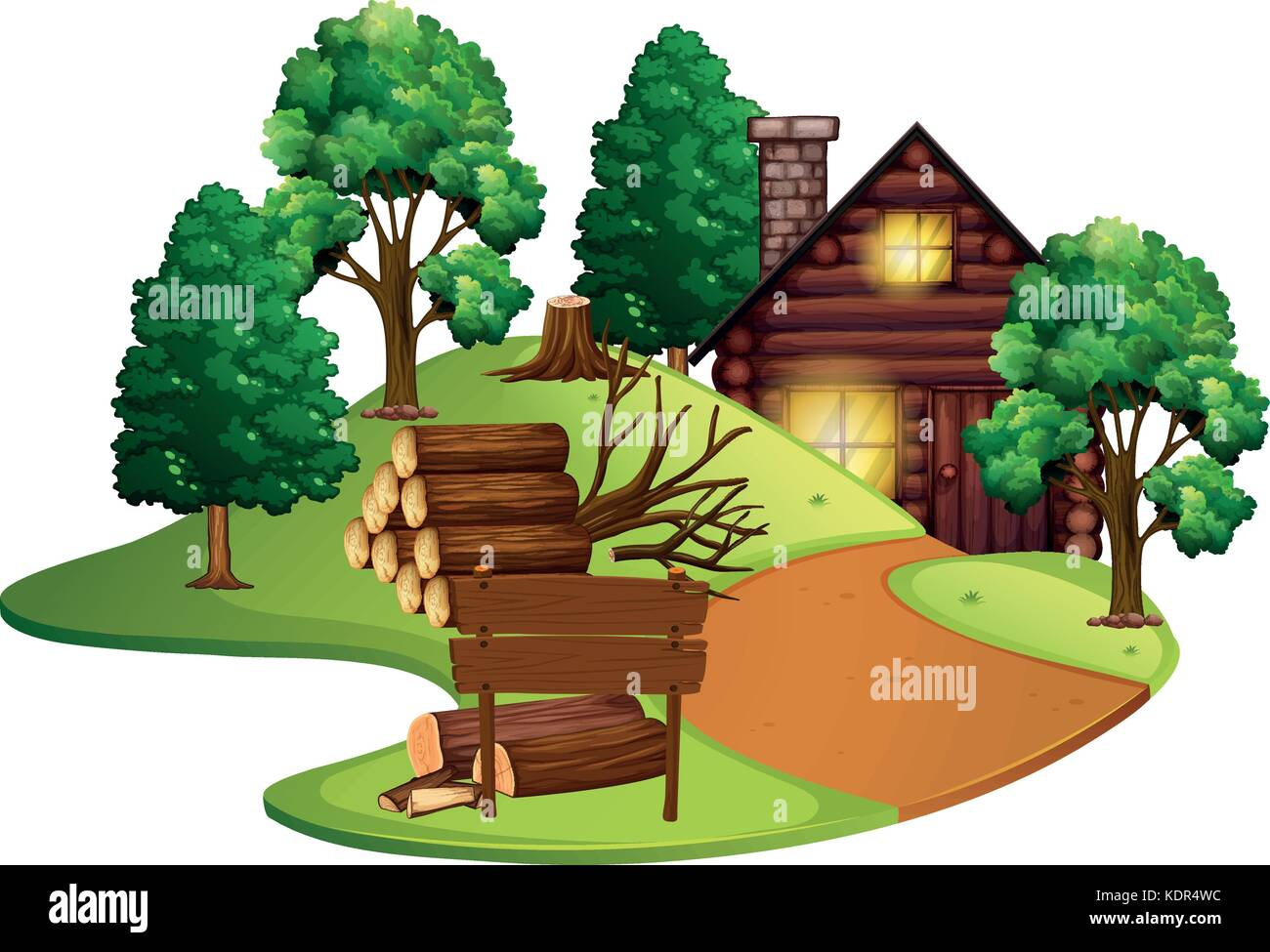 Log cabin with many trees illustration - Stock Vector