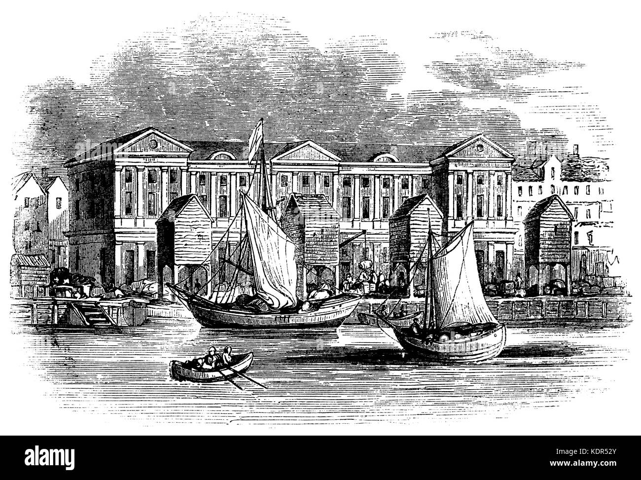 London customs house before the great fire of 1611 (from old print) - Stock Image