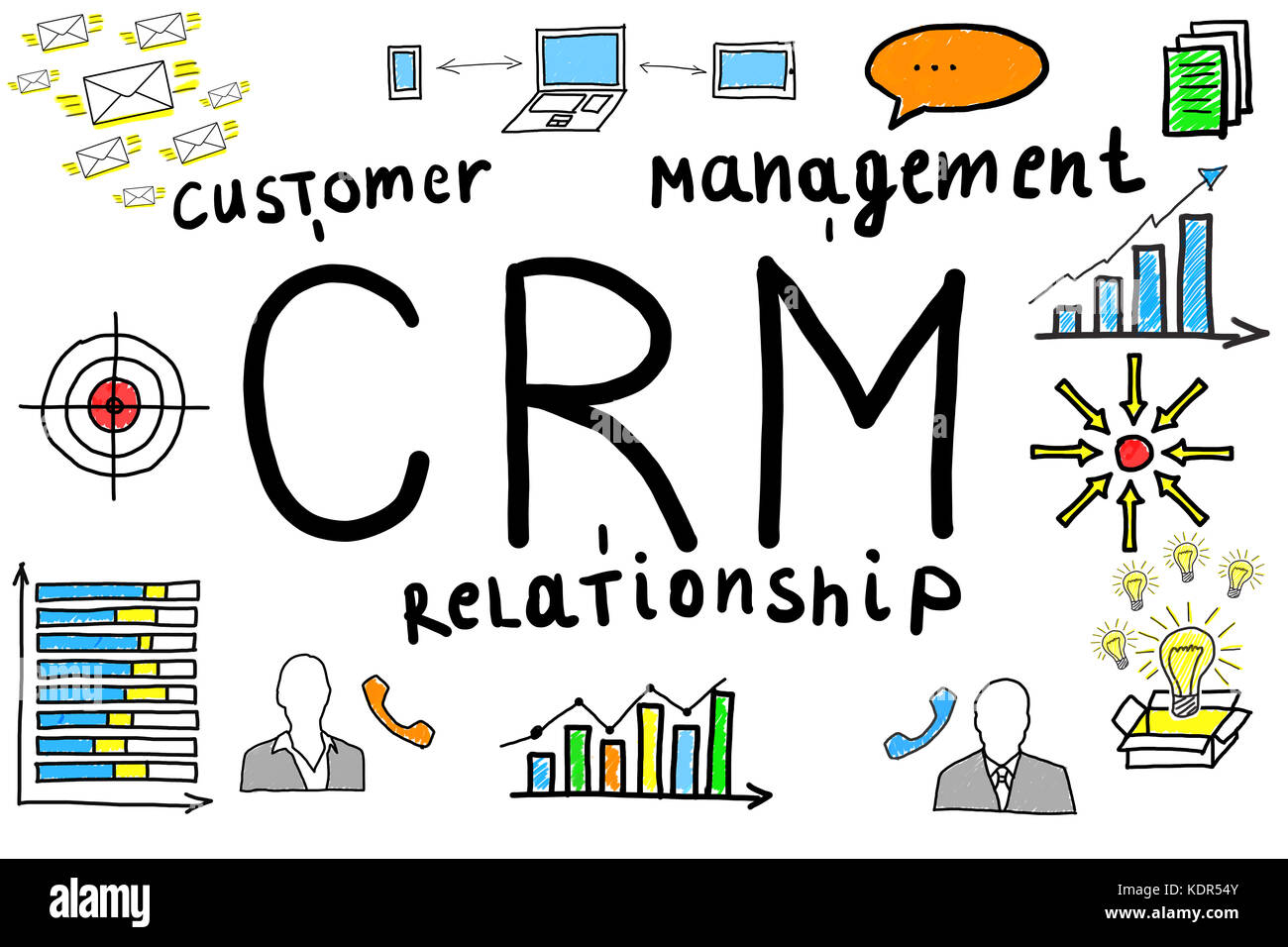 Illustrative Diagram Of Customer Relationship Management For Managing A Company On White Background - Stock Image