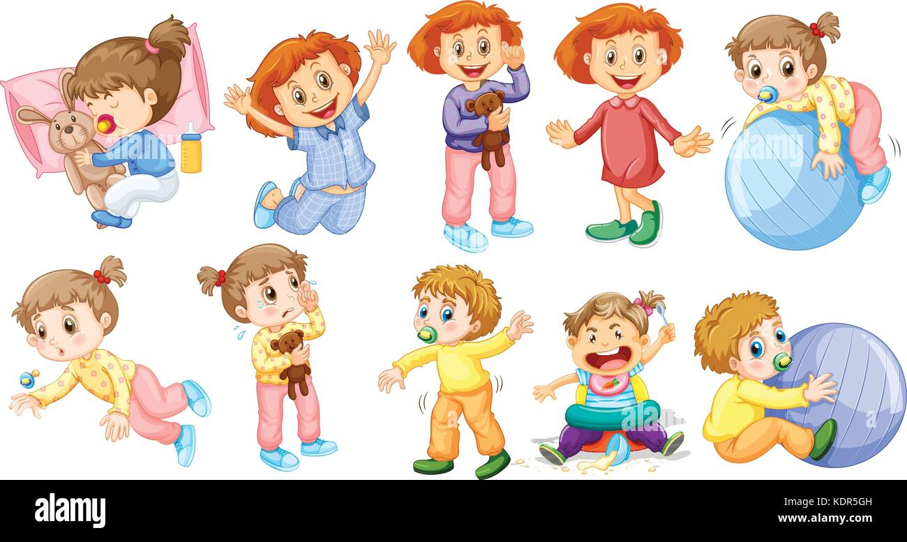 Baby girls and boys doing different activities illustration - Stock Vector