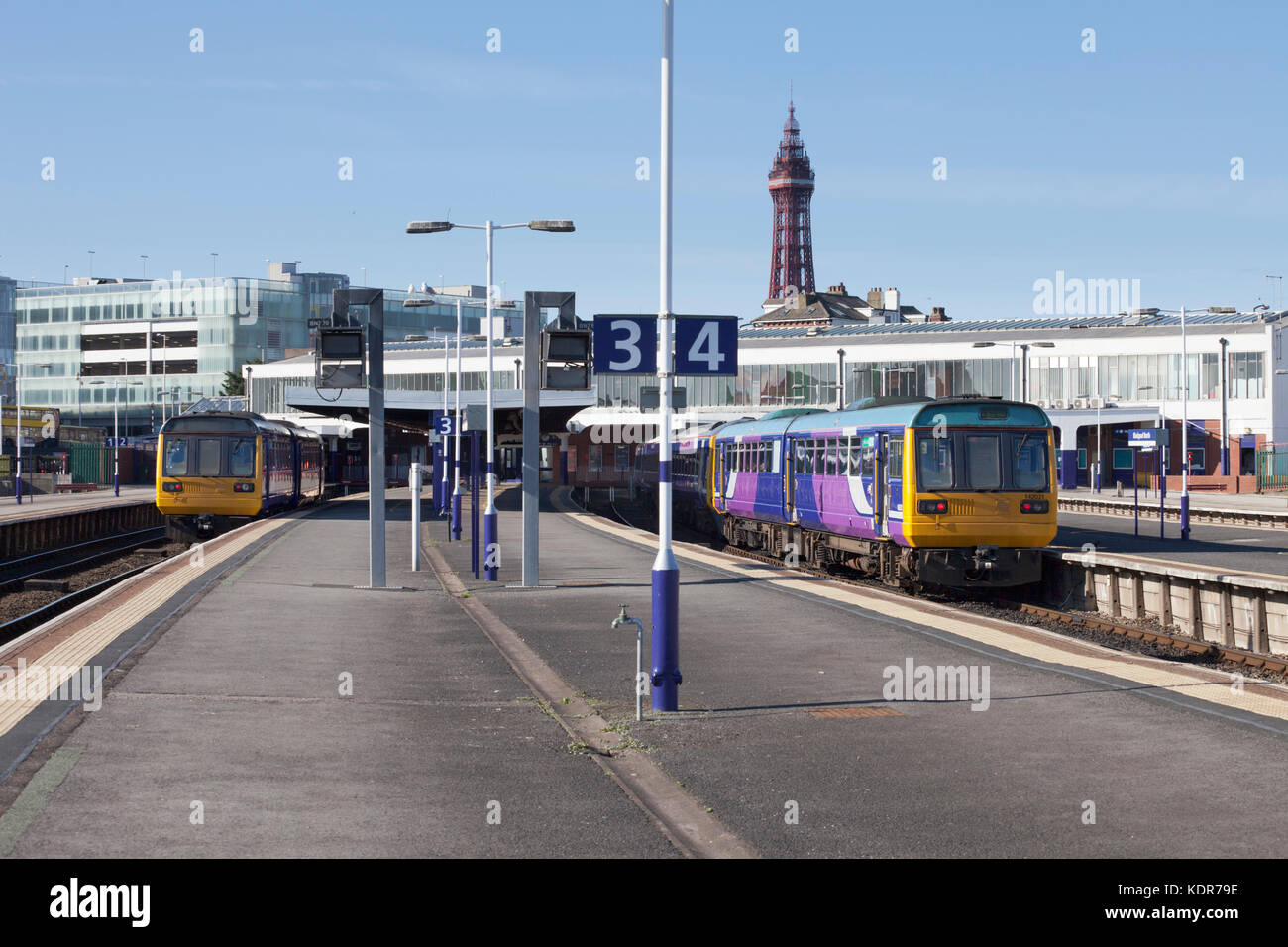 Arriva Northern rail class 142 pacer trains at Blackpool North station - Stock Image