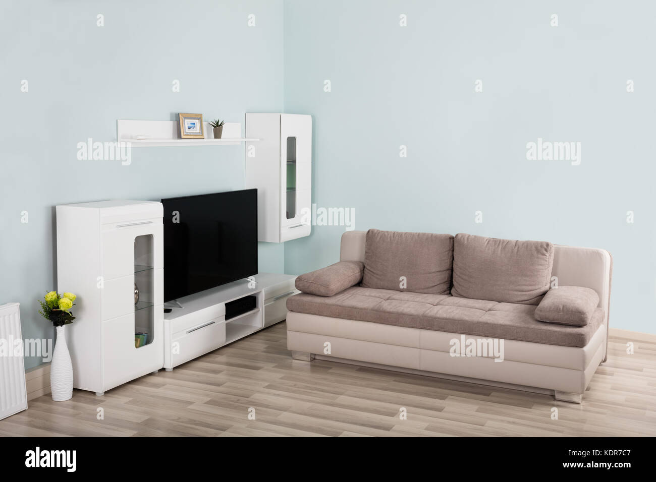 Interior Of Modern Empty Living Room With Sofa And Television In House