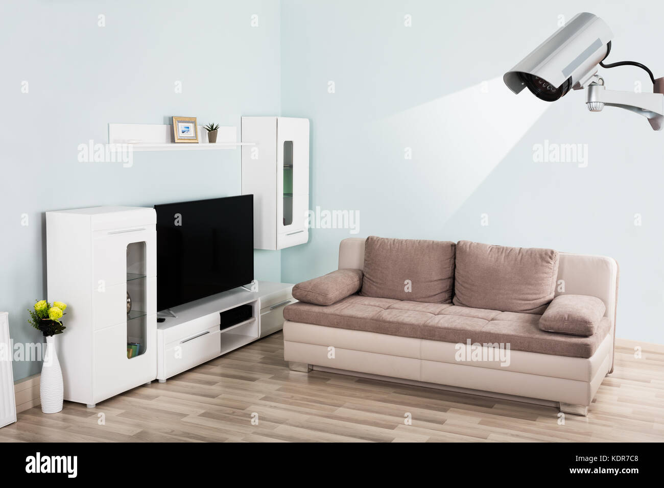 Interior Of Modern Empty Living Room With Security Camera In House ...