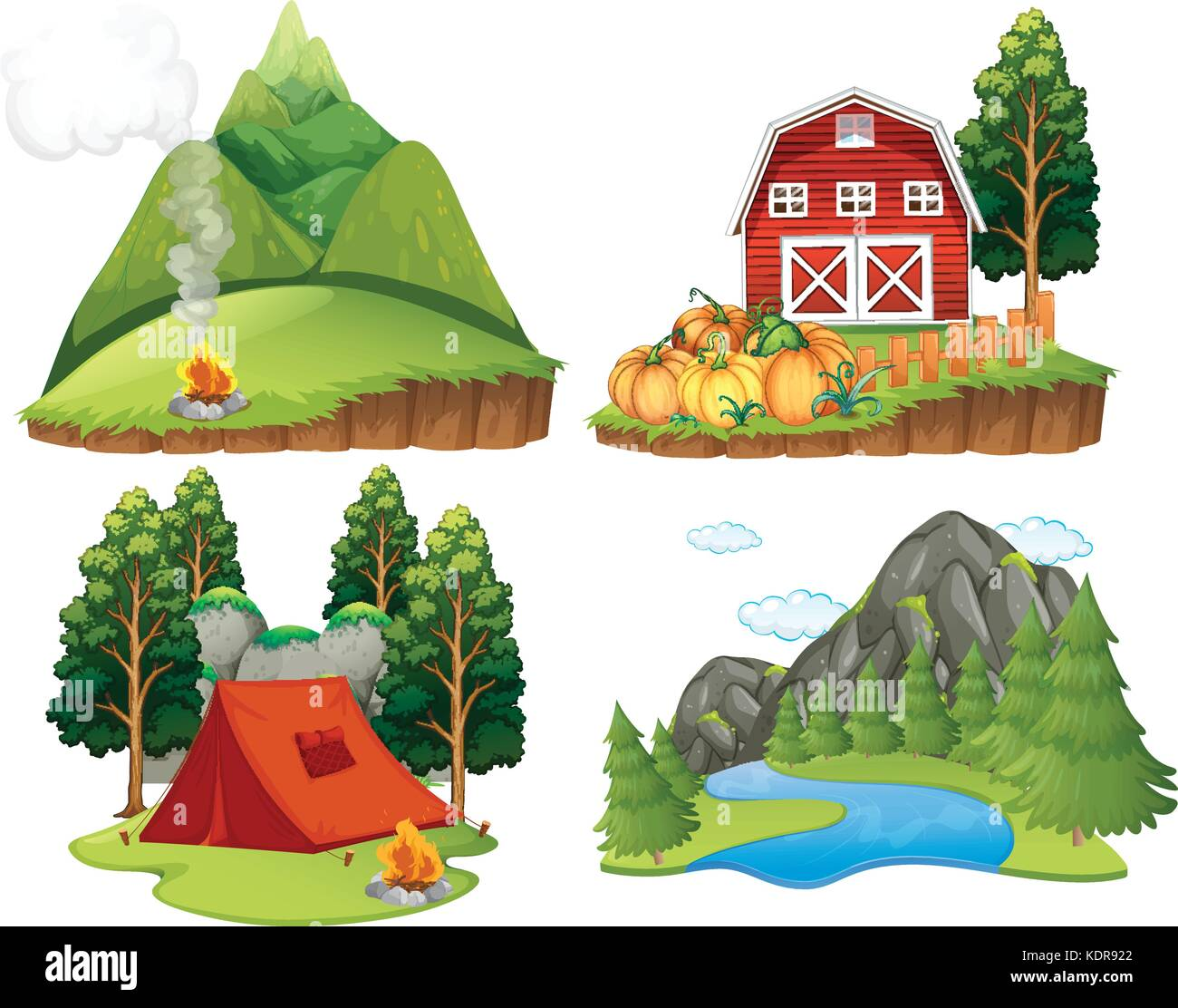 Four nature scenes on white background illustration - Stock Vector