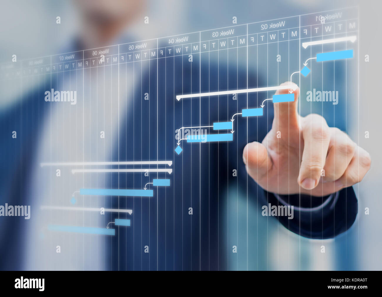 Project manager updating tasks and milestones progress planning with Gantt chart scheduling interface on a virtual - Stock Image