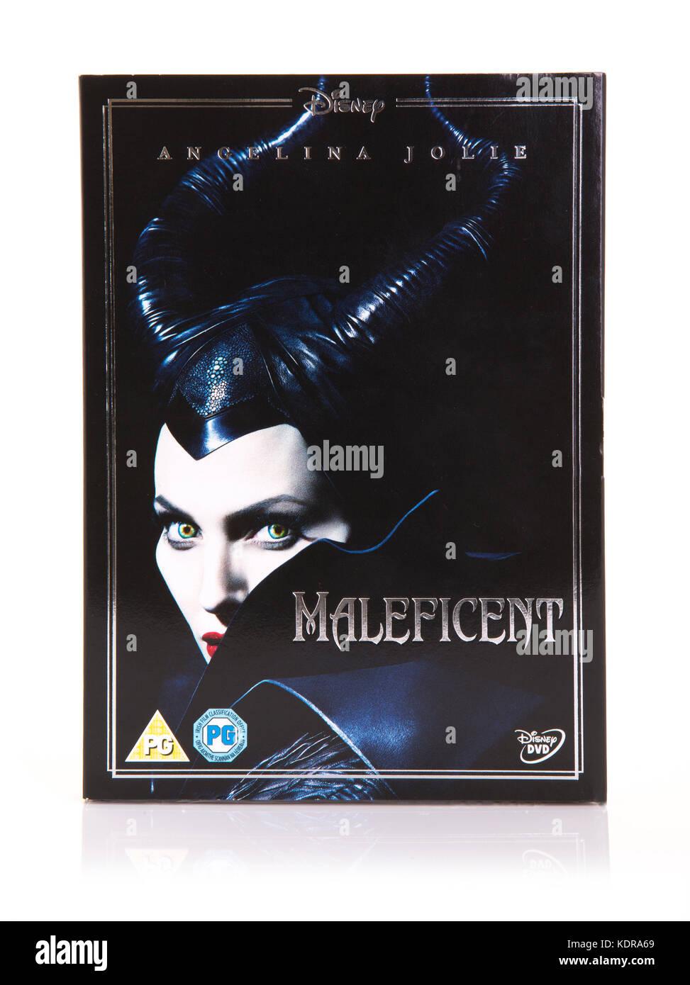 SWINDON, UK - OCTOBER 1, 2017: Maleficent  DVD with Angelina Jolie - Stock Image
