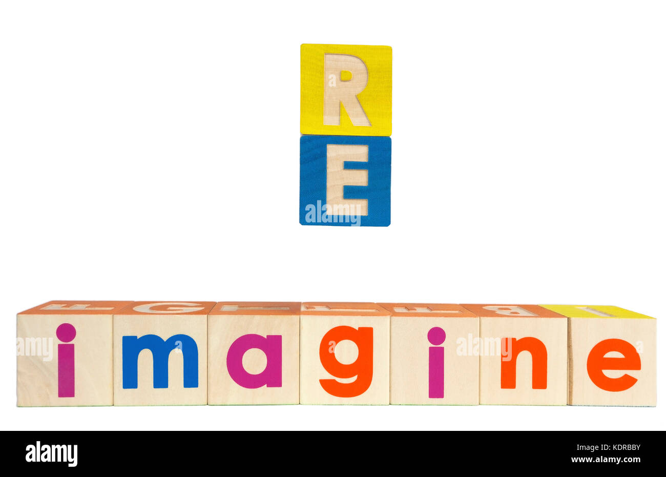 RE IMAGINE concept spelled out with toy blocks. Isolated. - Stock Image