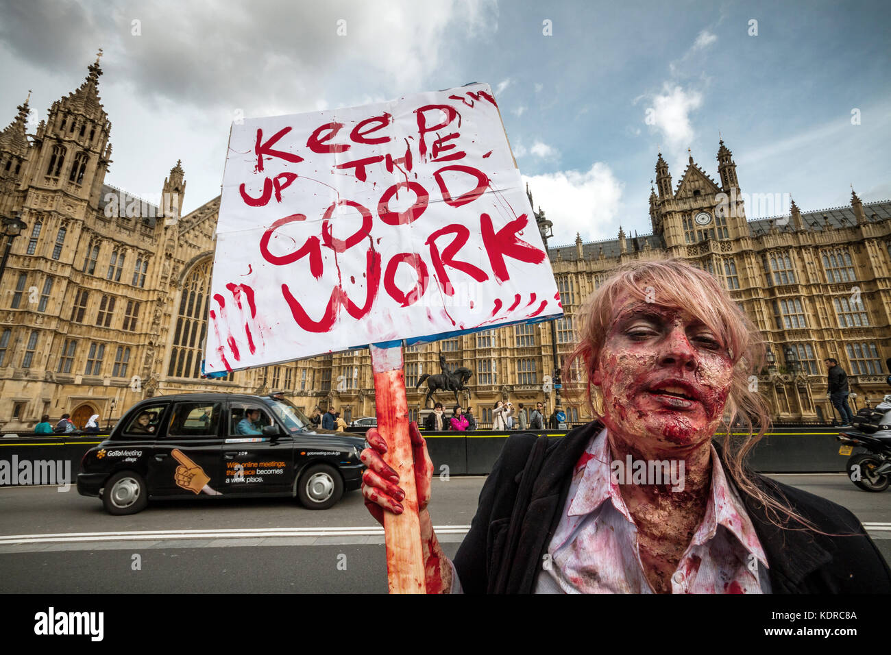 Protest against Monsanto company by GMO environmental activists in London, UK - Stock Image