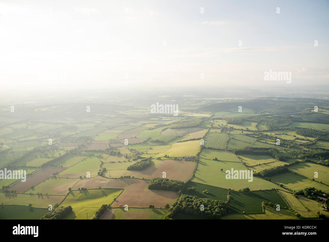 Aerial view of Buckinghamshire Landscape - United Kingdom - Hot air balloon aerial photography - Stock Image
