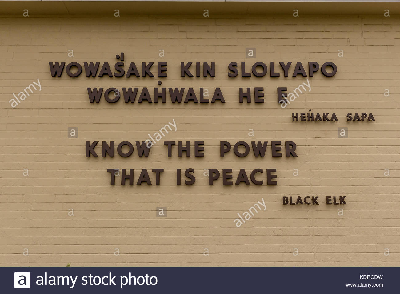Black Elk Quotation on the wall of the National Monument at Little Big Horn Stock Photo