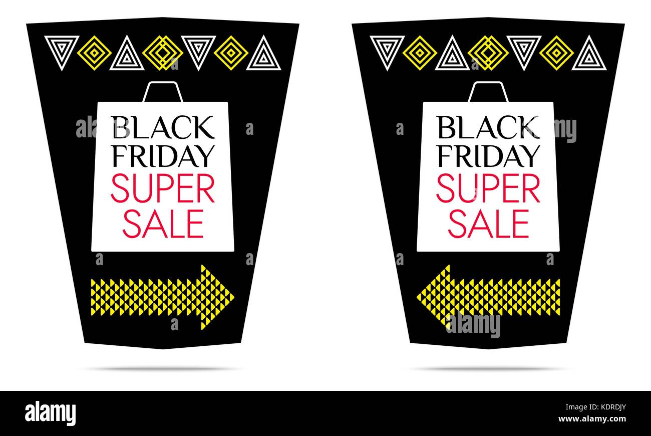 Black Friday Super Sale. Vector Banner with black, white, yellow and red color. Colorful Promo Sticker, Flyer, Poster, - Stock Vector