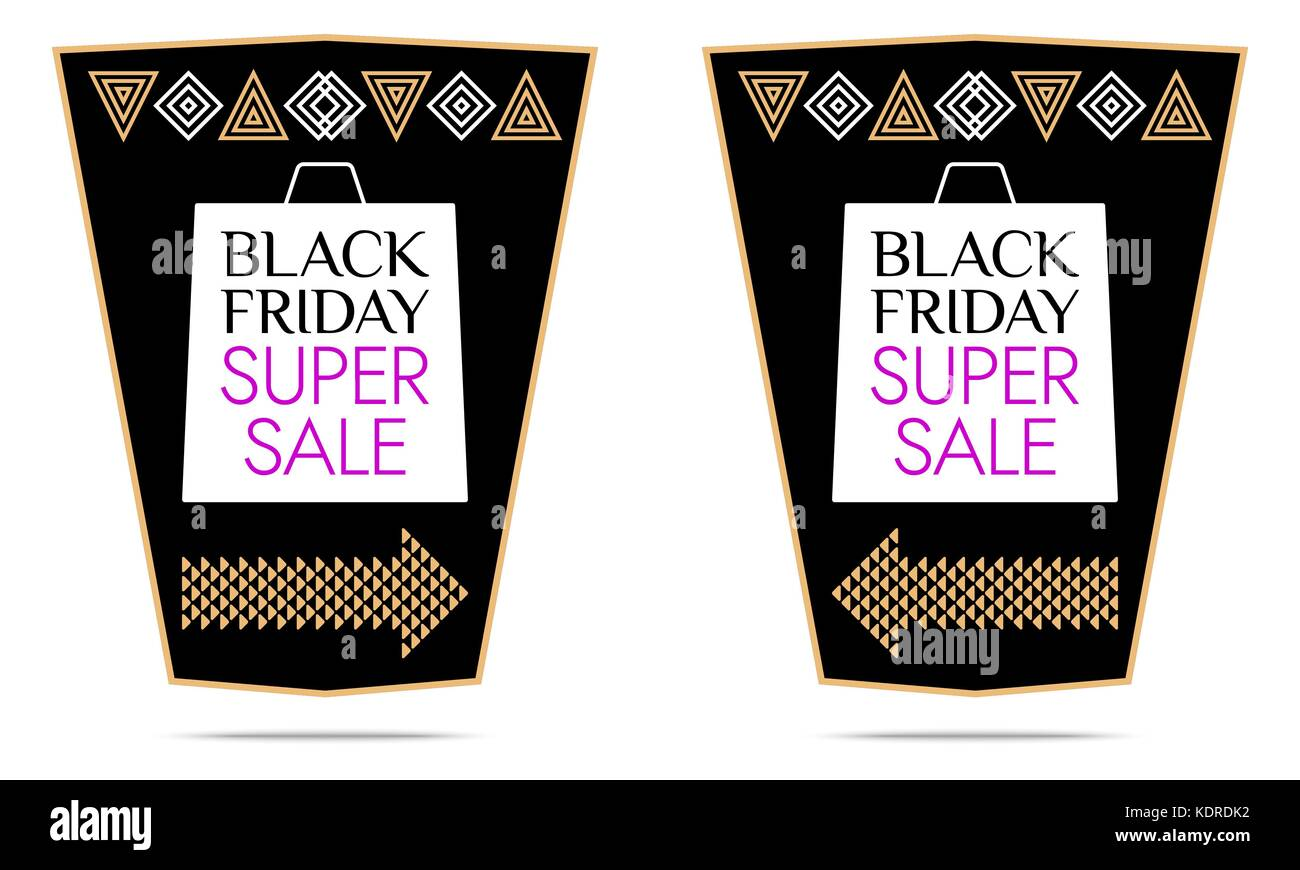 Black Friday Super Sale. Vector Sticker with black, white, gold and purple color. Colorful Promo Banner, Flyer, - Stock Vector