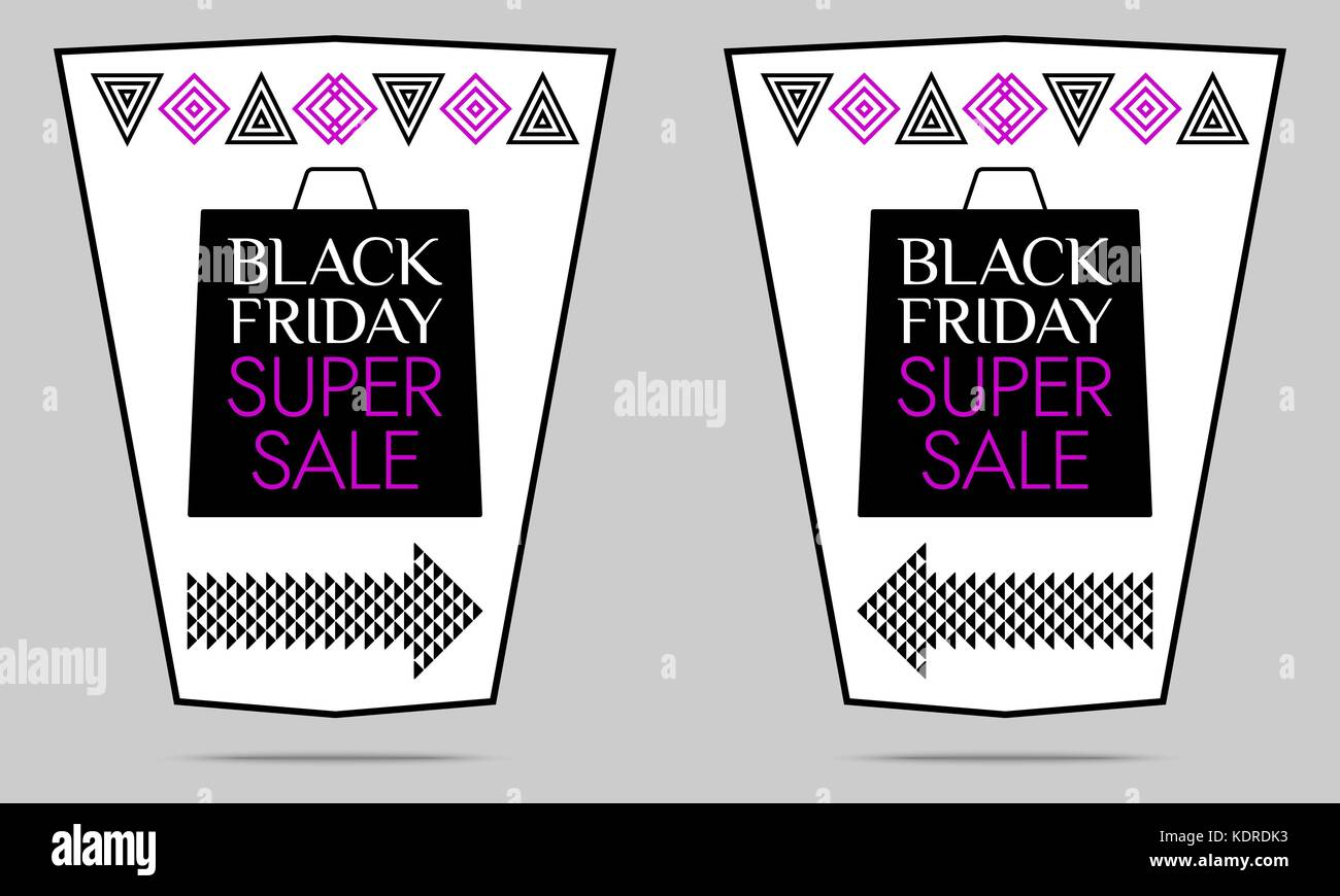 Black Friday Super Sale. Vector Flyer with black, white and purple color. Colorful Promo Banner, Sticker, Poster, - Stock Vector