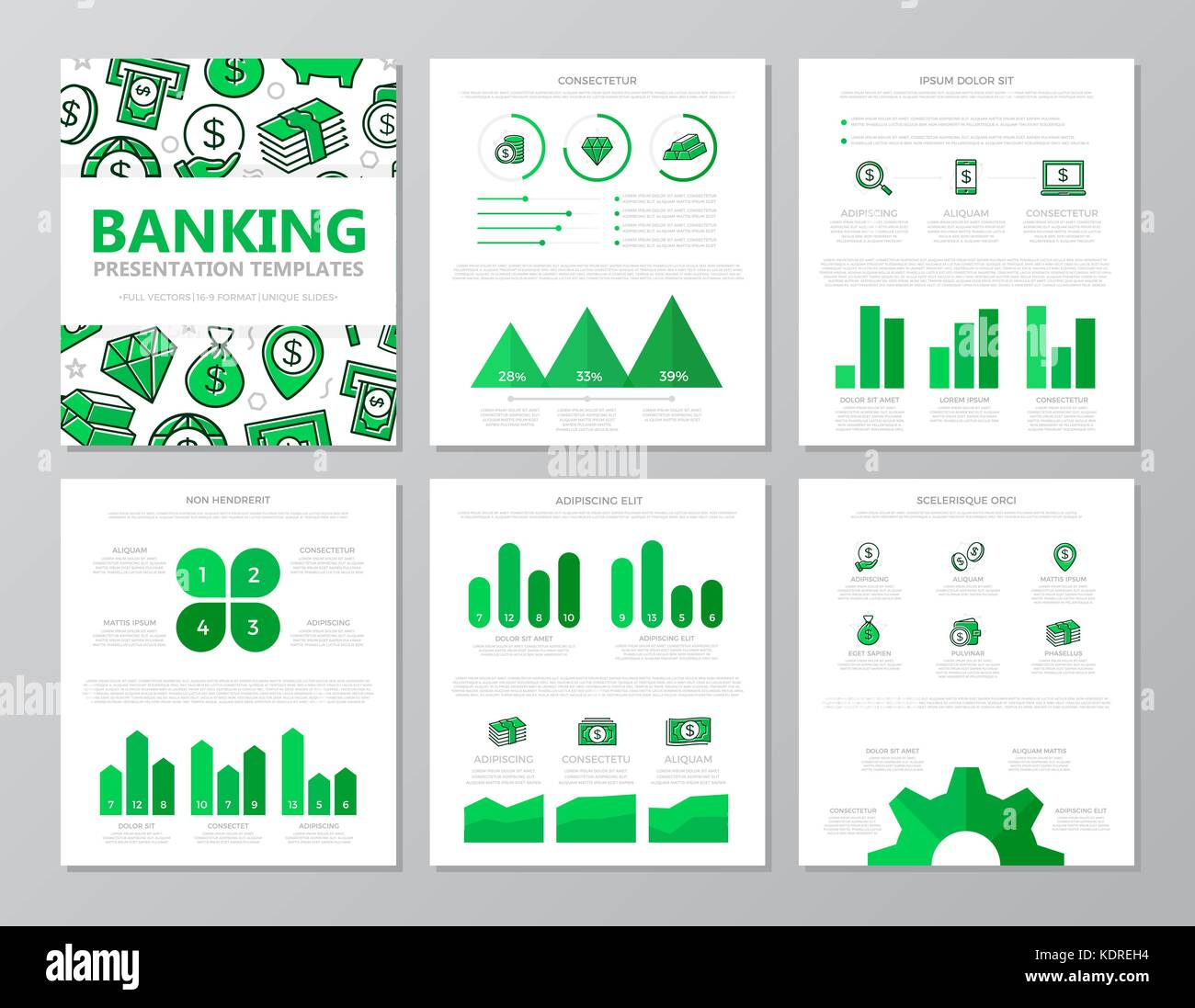 Set of colored bank and money elements for multipurpose a4 presentation template slides with graphs and charts. - Stock Image