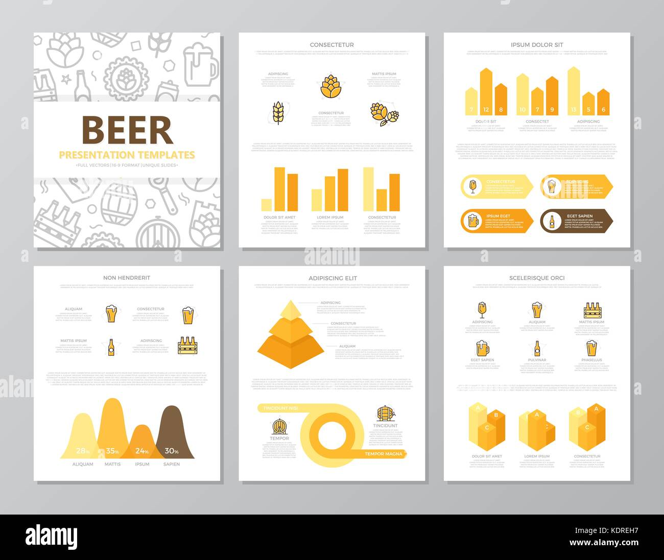 Set of colored beer and bar, pub elements for multipurpose a4 presentation template slides with graphs and charts. - Stock Image