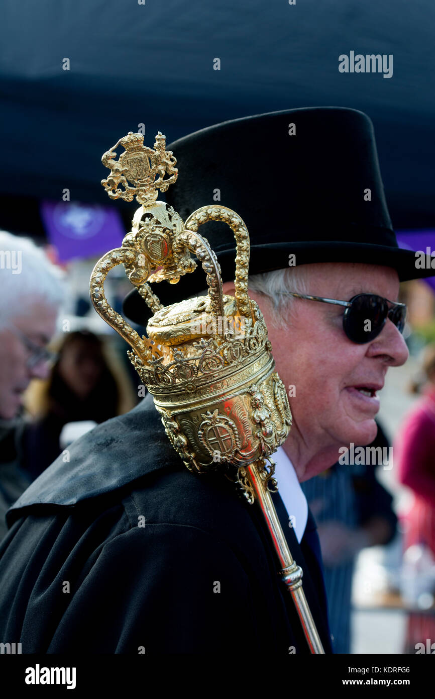Stratford Town Council mace-bearer at the Mop Fair official opening, Stratford-upon-Avon, UK - Stock Image