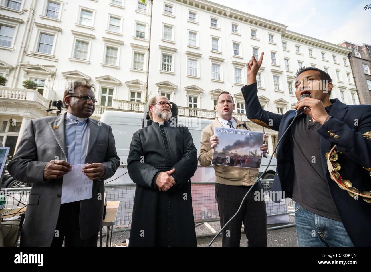 British Pakistani Christians protest outside High Commission of Pakistan in London, UK. - Stock Image