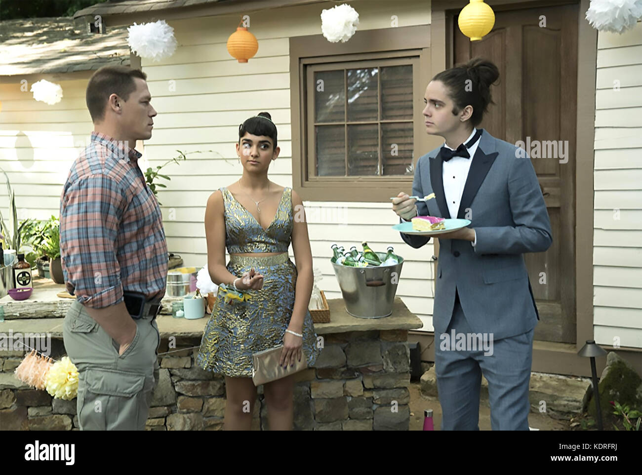BLOCKERS 2018 Point Grey Pictures film with from left: John Cena, Geraldine Viswanathan, Miles Robbins - Stock Image