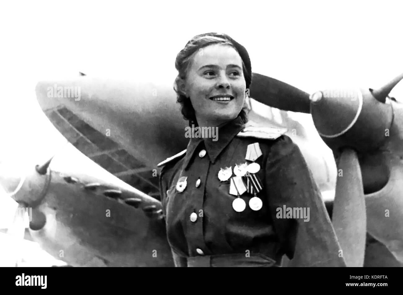 LYDIA LITVYAK (1921-1943) Soviet Air Force fighter pilot in WW2 - Stock Image