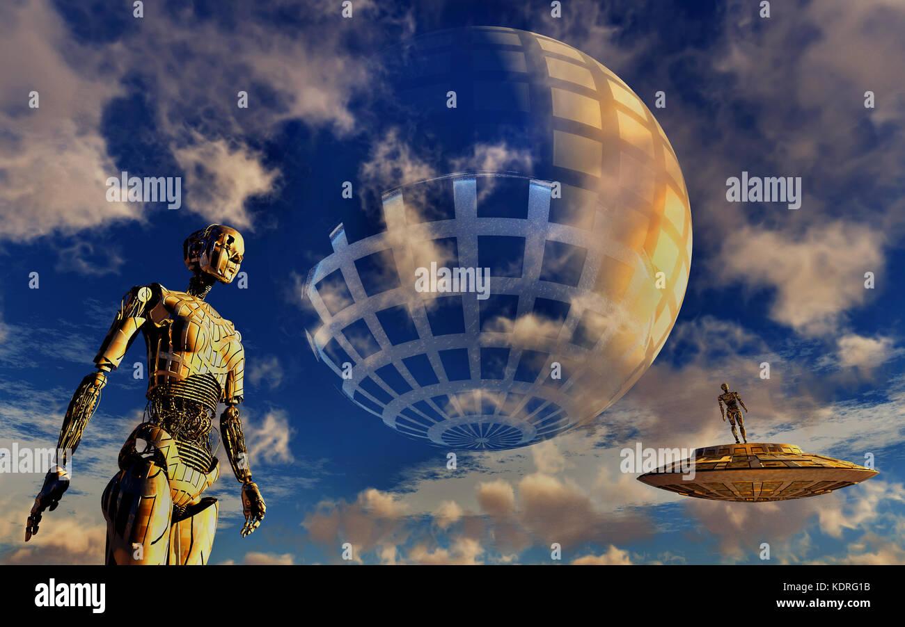 A Dyson Sphere Civilization - Stock Image