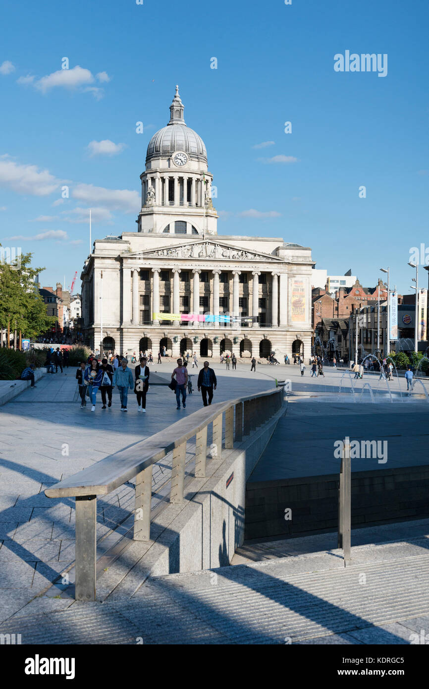 Old Market Square, Nottingham, looking east towards Nottingham Council House, late afternoon - Stock Image