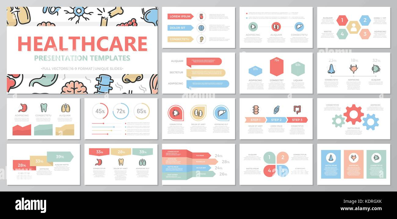 Set of medical and healthcare elements for multipurpose presentation template slides with graphs and charts. Leaflet, - Stock Image