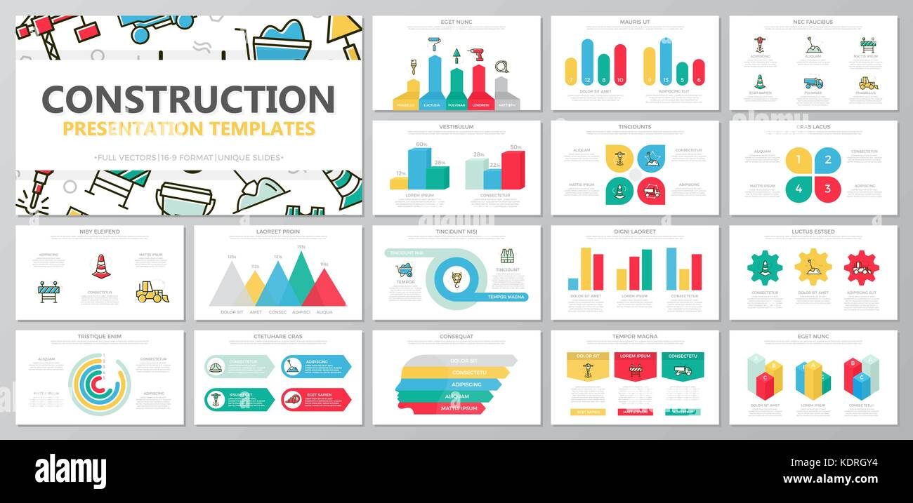 Set of construction and repair elements for multipurpose presentation template slides with graphs and charts. Leaflet, - Stock Image