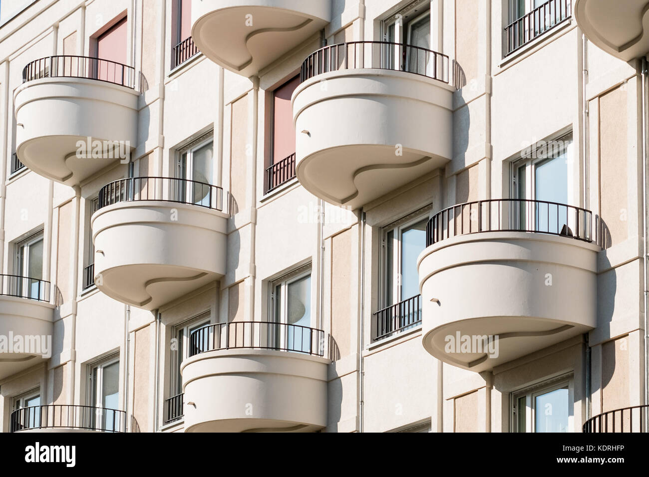 Round Balcony On Modern Apartment Building Facade