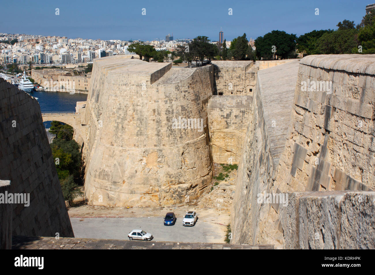 St Michael's Bastion, part of the landfront fortifications of Valletta, Malta, Europe, as seen from Hastings - Stock Image