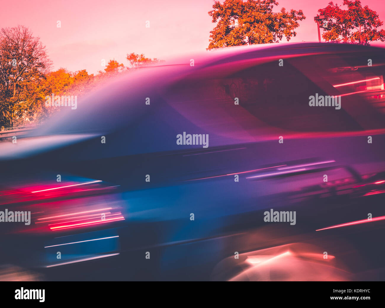 abstract motion blur picture of a fast driving car - Stock Image