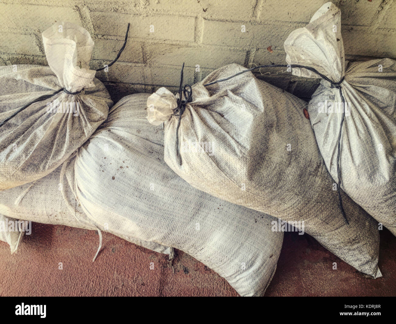 pre-filled Sandbags, USA - Stock Image