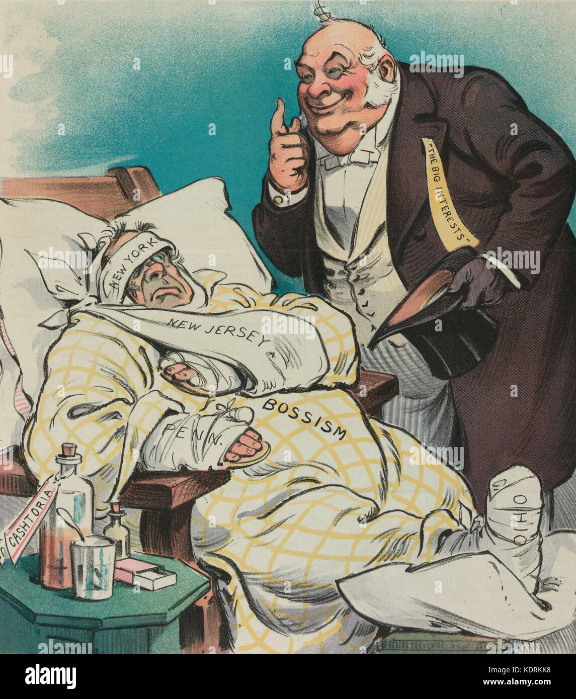 Till we forget -  Illustration shows a person labeled 'Bossism' sitting in a chair, with many bandages labeled - Stock Image