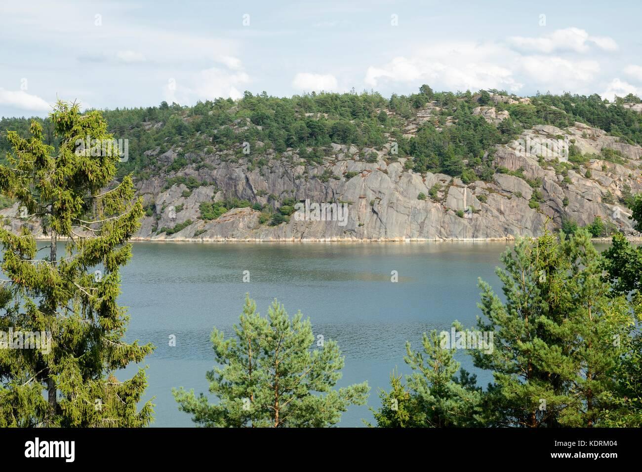 In the Skerry Rocks of Flatoen, Sweden - Stock Image