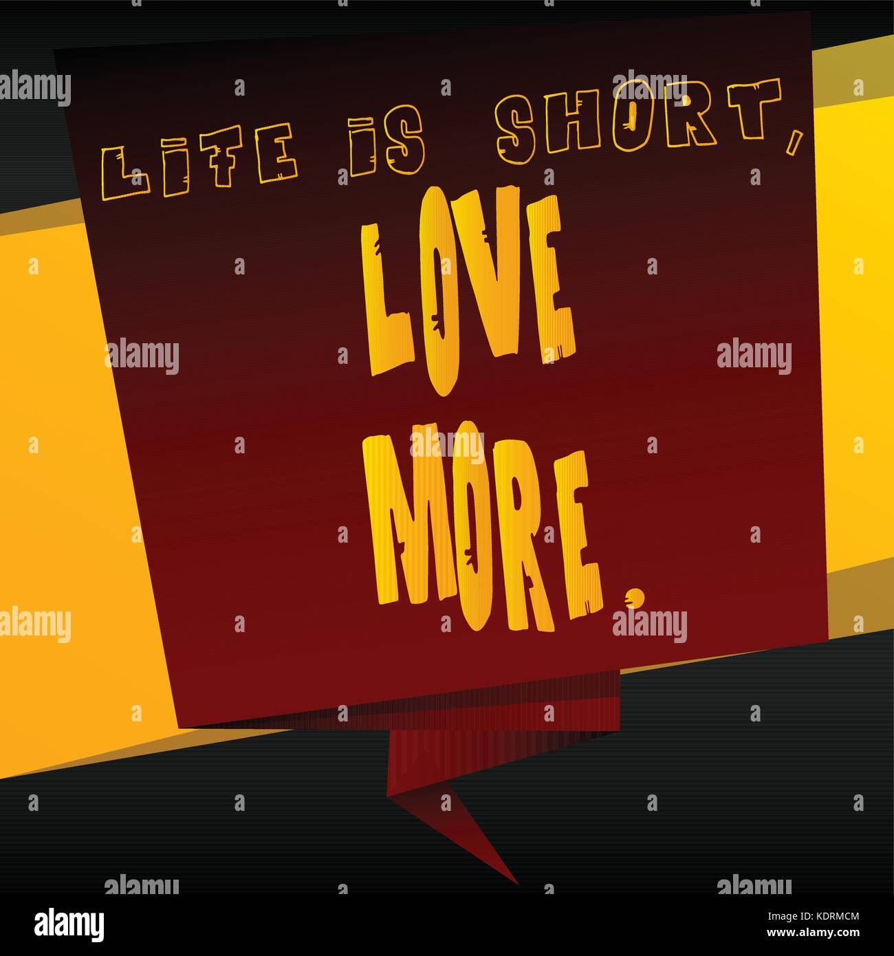 Banner with inspirational, motivational quote. Vector design. Life is short, love more. - Stock Vector