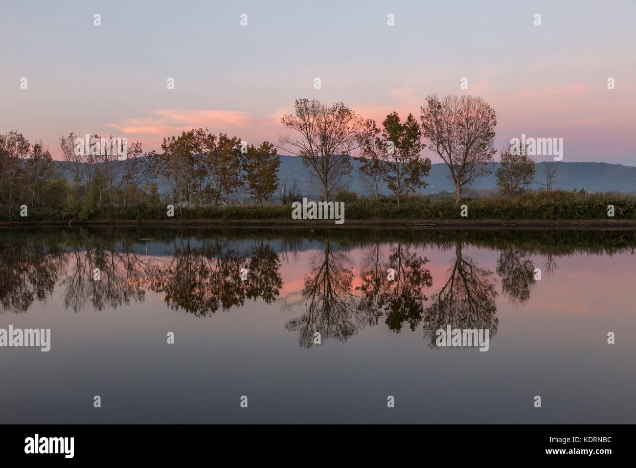 A symmetric photo of a lake, with trees and clouds reflections on water and soft and warm sunset colors - Stock Image