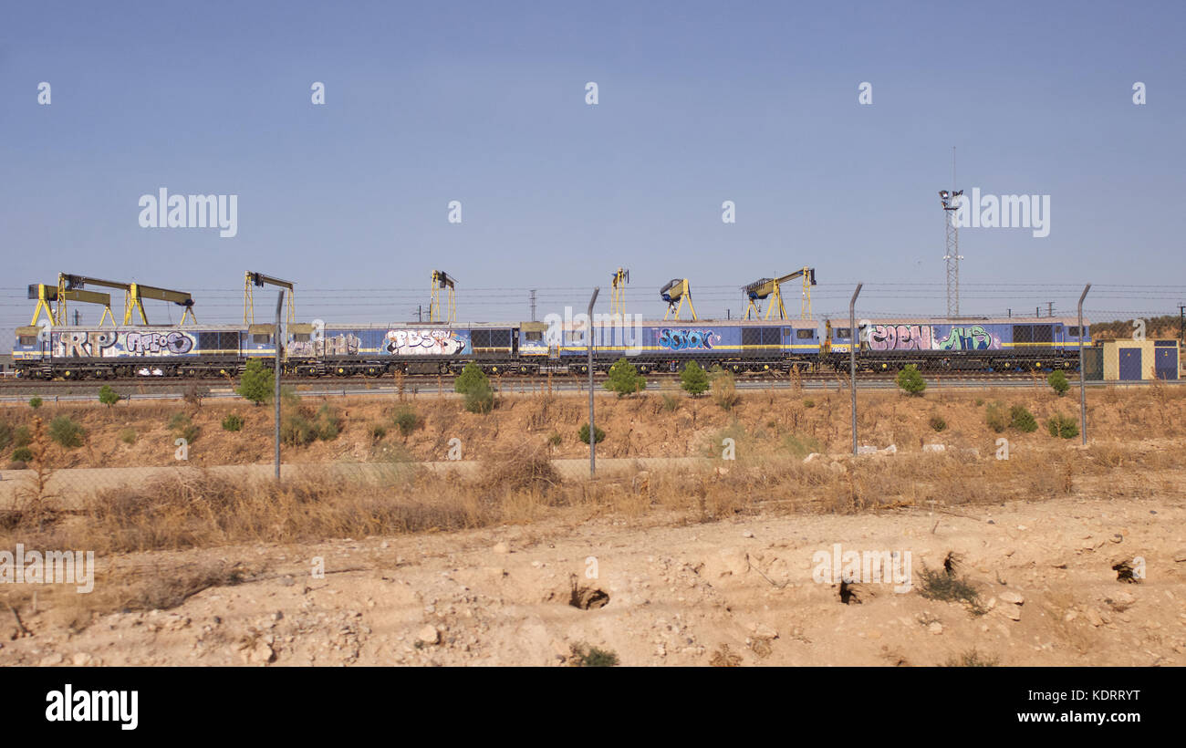 British Class 58 locomotives in Albacete, Spain used to construct anew high speed line - Stock Image