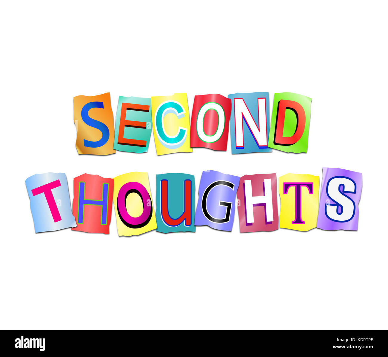 3d Illustration depicting a set of cut out printed letters arranged to form the words second thoughts. - Stock Image