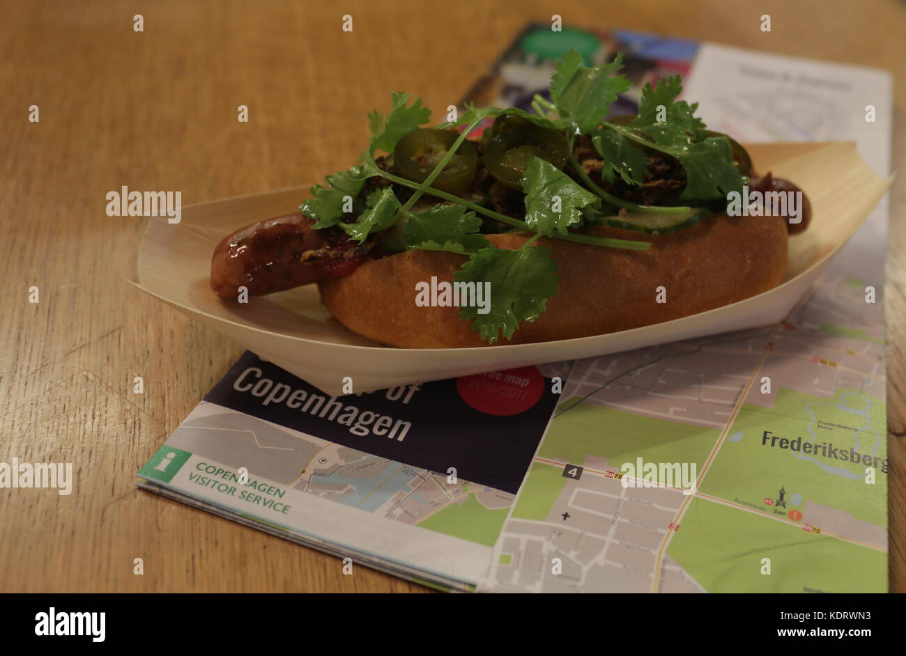 The Famous Danish hot dog with a map underneath, Copenhagen, Denmark - Stock Image