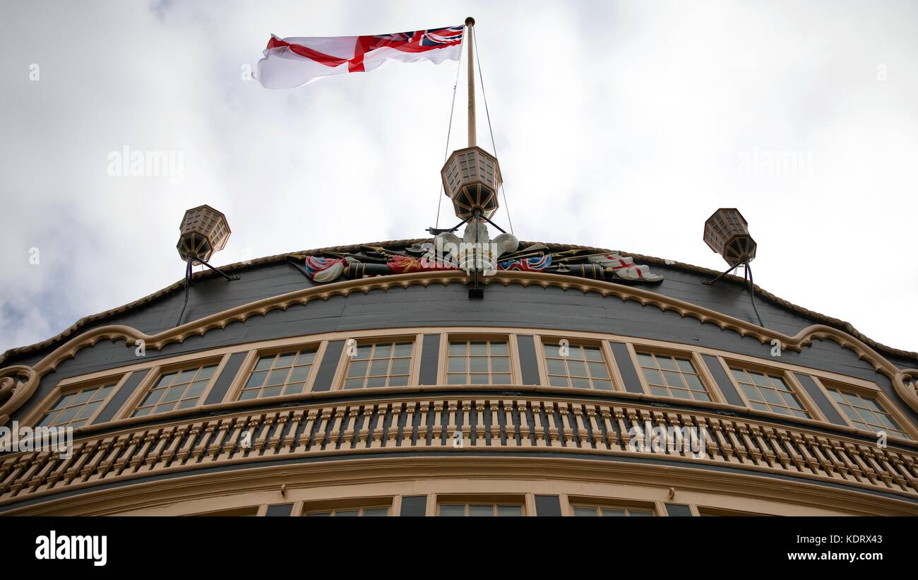 The stern of HMS Victory - Portsmouth Historical Dockyard - Stock Image