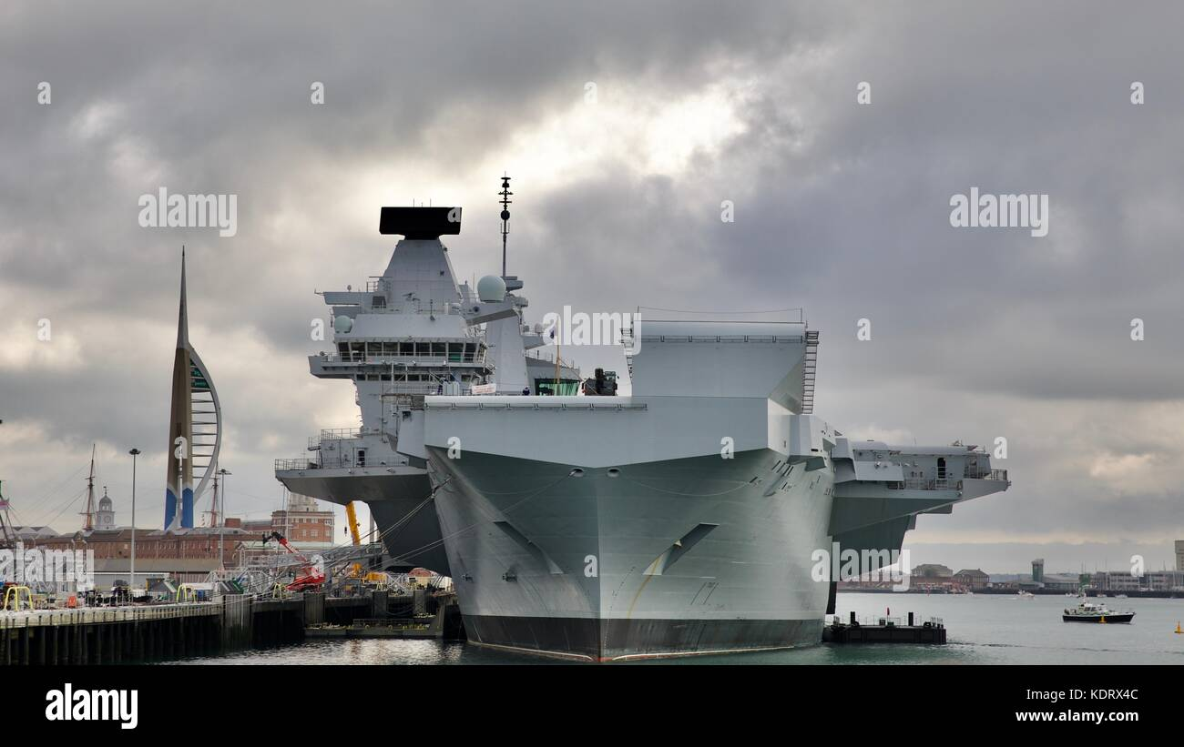 HMS Queen Elizabeth  - Aircraft Carrier the most advanced warship in the Royal Navy Fleet at Portsmouth Navel Base - Stock Image
