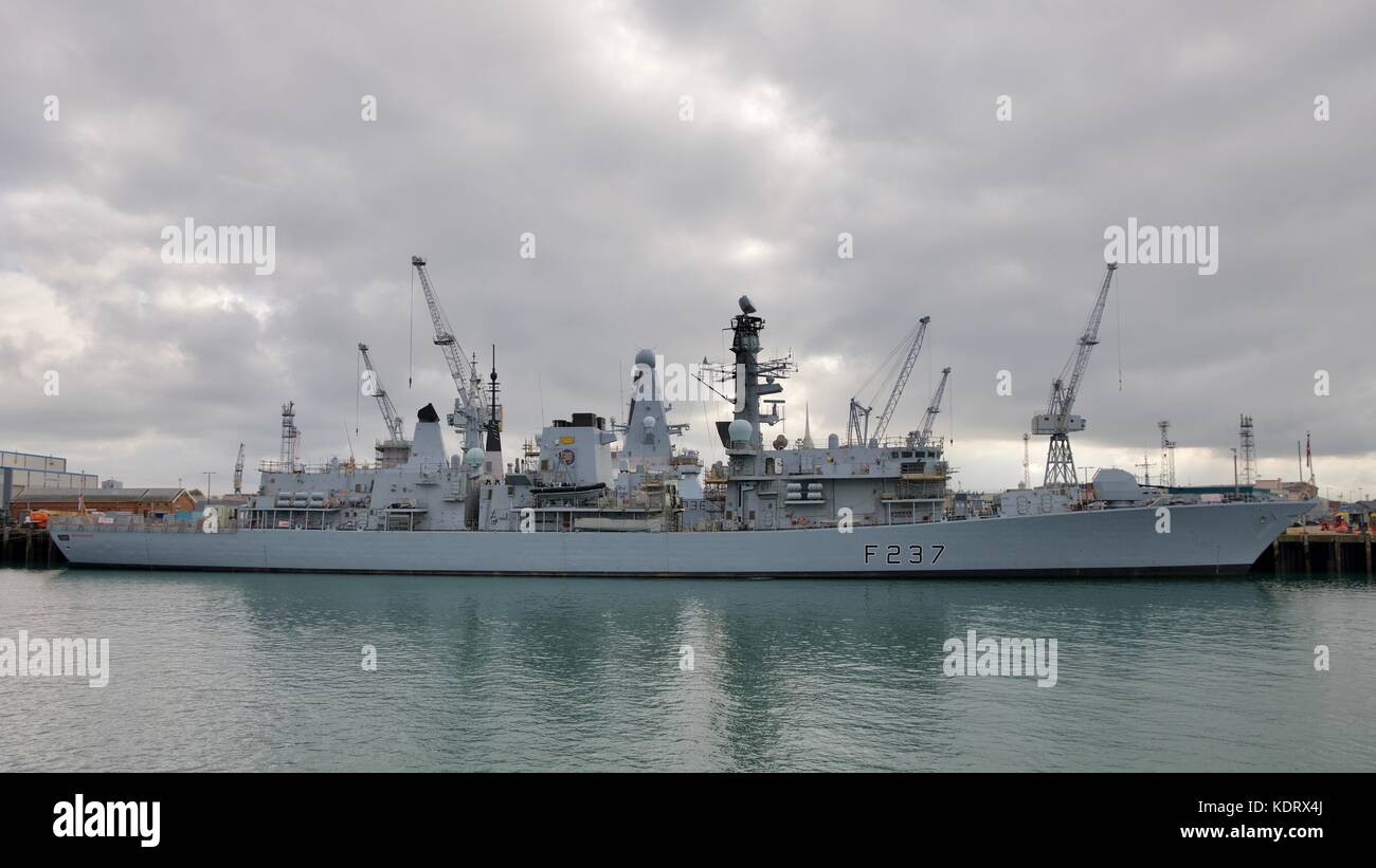 HMS Westminster (F237) a Type 23frigate in Portsmouth harbour - Stock Image
